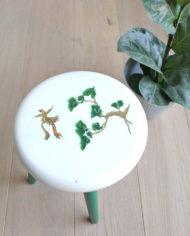 groen-wit-plantentafeltje-botanisch-schildering-japans-krukje-driepoot-2