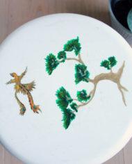 groen-wit-plantentafeltje-botanisch-schildering-japans-krukje-driepoot-6