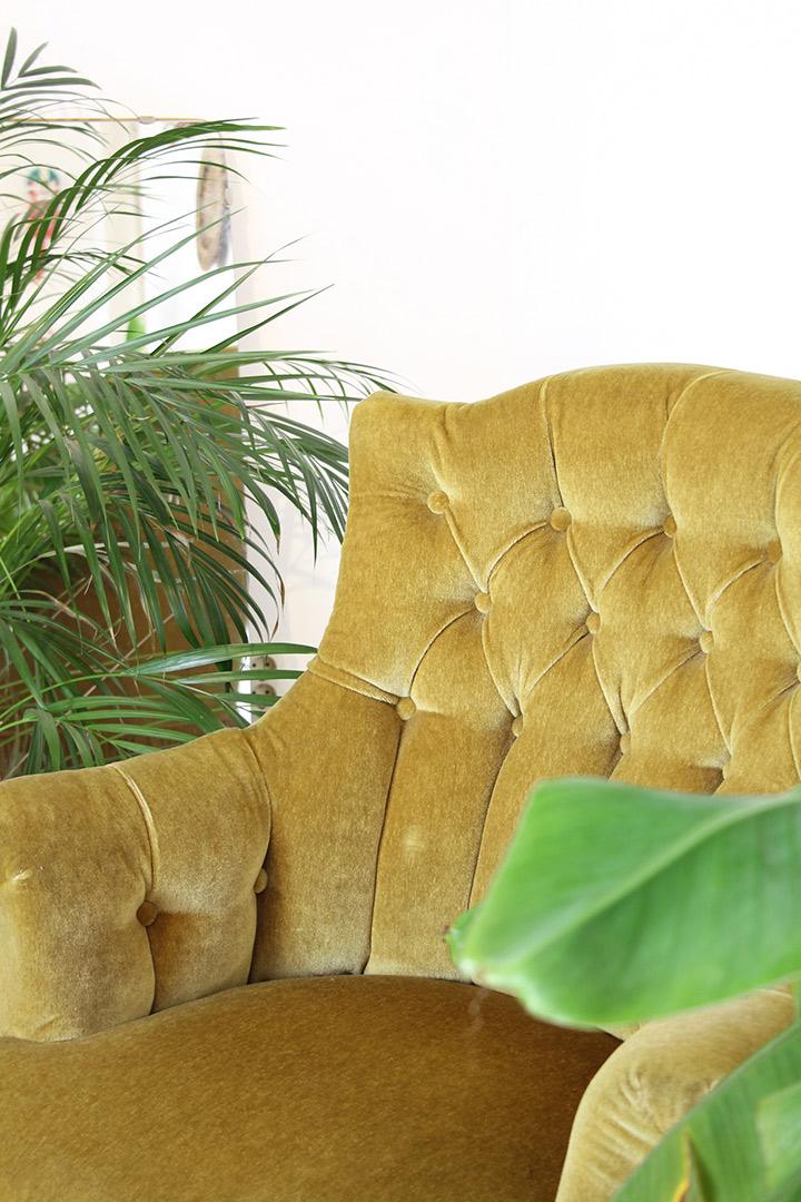 Curry groene vintage fluwelen stoel froufrou 39 s for Groene stoel