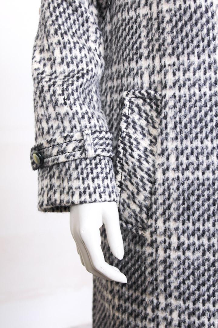 Lange Winterjas Zwart.Wollen Geruite Lange Winterjas Uit De Jaren 90 L Froufrou S