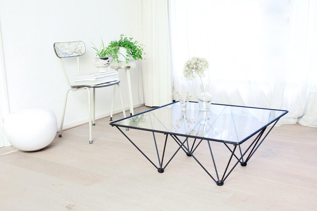 Zwarte Salon Tafel Met Glasplaat.Paolo Piva Alanda Stijl Salontafel 80x80