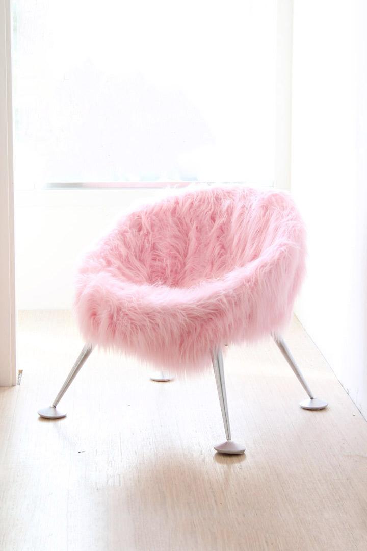Egg Chair Roze.Pop Art Roze Furry Stoel Froufrou S