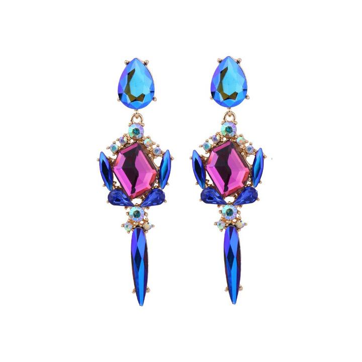 Statement oorbellen Zirkonia blauw roze