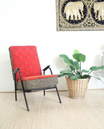 vintage stoel zwart buisframe