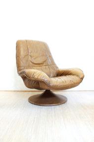 vintage-bruin-leren-fauteuil-ronde-voet-draaistoel-6