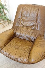 vintage-bruin-leren-fauteuil-ronde-voet-draaistoel-7