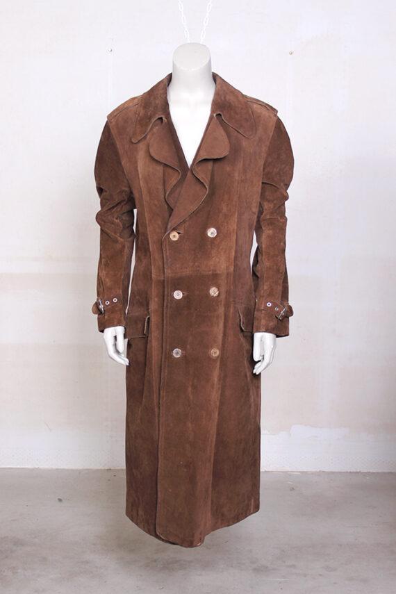 bruine suede trenchcoatVintage bruine suede lange trenchcoat jas