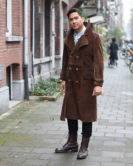 Vintage bruine suede lange trenchcoat jas