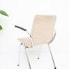 Vintage buizenframe stoel met creme bekleding en armleuningen Gispen-stijl
