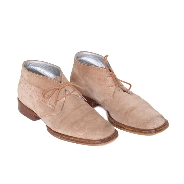 Beige suede vintage Chanel schoenen - Froufrouu0026#39;s