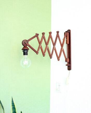Vintage houten schaarlamp groot