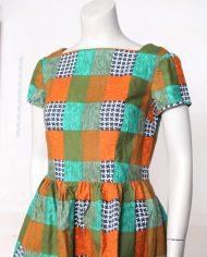 vintage-jaren-70-jurkje-print-oranje-groen-geruit-2