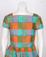 vintage-jaren-70-jurkje-print-oranje-groen-geruit-4