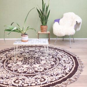 vintage-rond-kleed-tapijt-vloerkleed-tafelkleed-beige-bruin-2