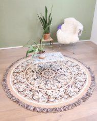 vintage-rond-kleed-tapijt-vloerkleed-tafelkleed-beige-bruin-6
