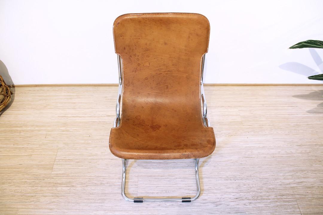 Vintage sling chair buisframe stoel cognac leer froufrou s