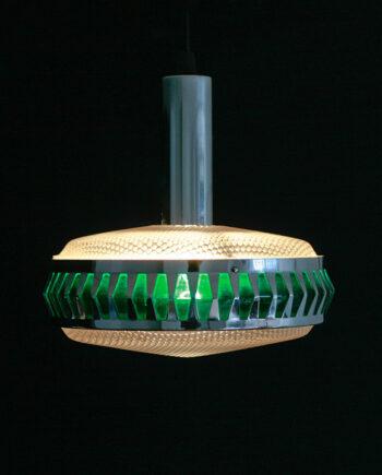 Vintage ufo lamp chroom groen