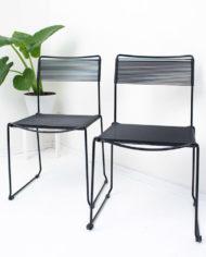 vintage zwarte spaghetti stoelen Giandomenico Belotti-stijl