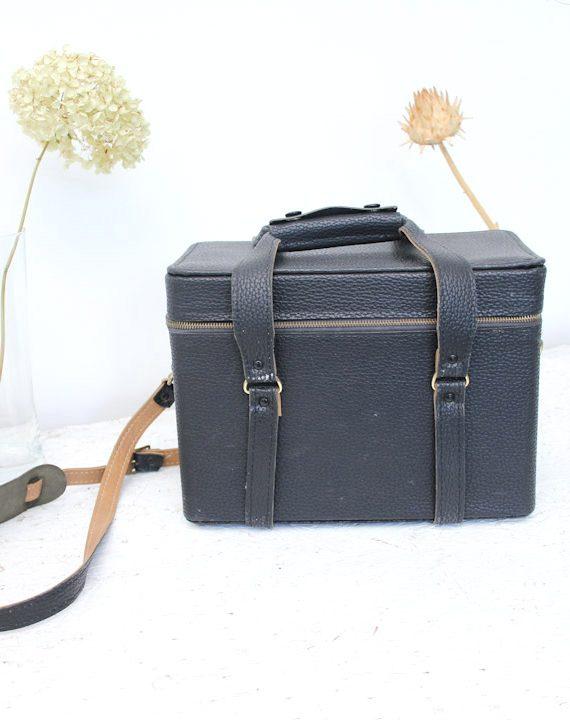 vintage zwarte camera koffer